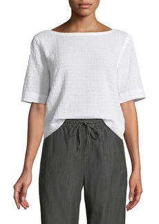 Eileen Fisher Grid-Textured Organic Cotton Voile Top
