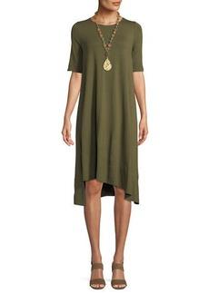 Eileen Fisher Half-Sleeve Lightweight Jersey Asymmetric Dress