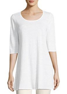 Eileen Fisher Half-Sleeve Linen Jersey Layering Tunic