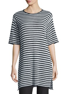 Eileen Fisher Half-Sleeve Striped Organic-Linen Sweater