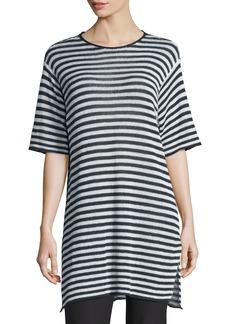 Eileen Fisher Half-Sleeve Striped Organic-Linen Sweater  Graphite/White