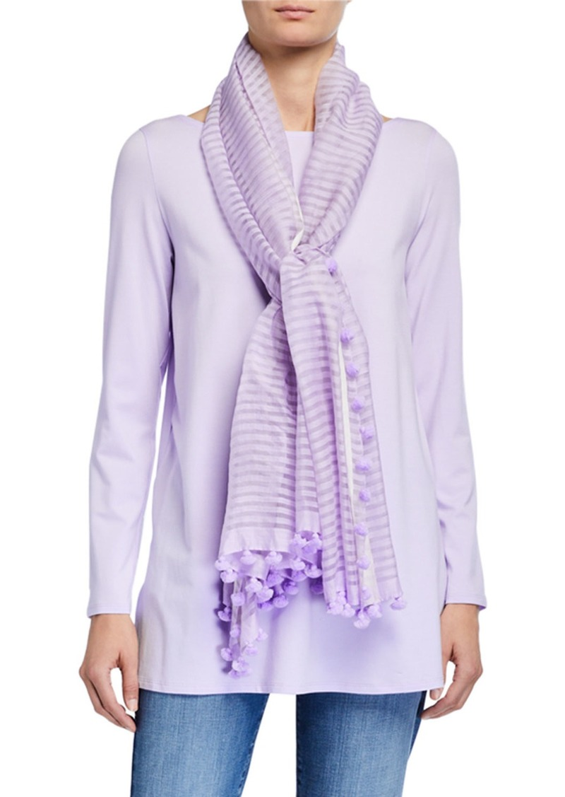 Eileen Fisher Hand-Loomed Organic Cotton/Silk Scarf w/ Pompoms