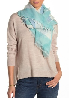Eileen Fisher Hand Painted Wool Blend Fringe Square Scarf