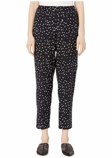 Eileen Fisher Hand Printed Cotton Dot Tapered Ankle Pants