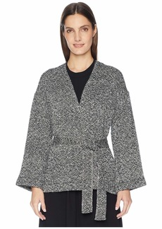 Eileen Fisher Hand Woven Peruvian Organic Cotton Bracelet Sleeve Kimono Jacket with Belt