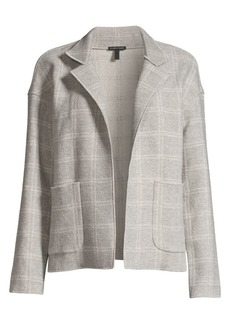 Eileen Fisher Heathered Check Wool-Blend High-Collar Coat
