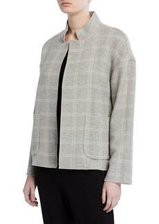 Eileen Fisher Heathered Wool-Blend High Collar Coat