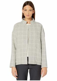 Eileen Fisher Heathered Wool Blend High Collared Coat