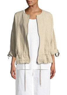 Eileen Fisher Heavy Linen Short Drawstring Jacket