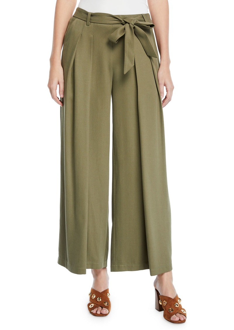 Eileen Fisher Heavy Tencel® Twill Wide-Leg Pants w/ Tie-Waist