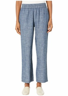 Eileen Fisher Hemp & Organic Cotton Chambray Straight Pants in Denim
