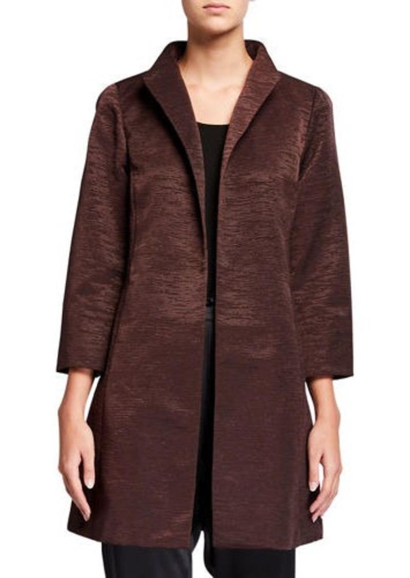 Eileen Fisher High-Collar Bracelet-Sleeve Dressy Jacket