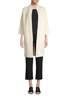 Eileen Fisher High Collar Three-Quarter Sleeve Jacket