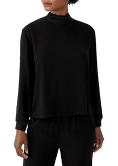 Eileen Fisher High Mockneck Silk Boxy Top