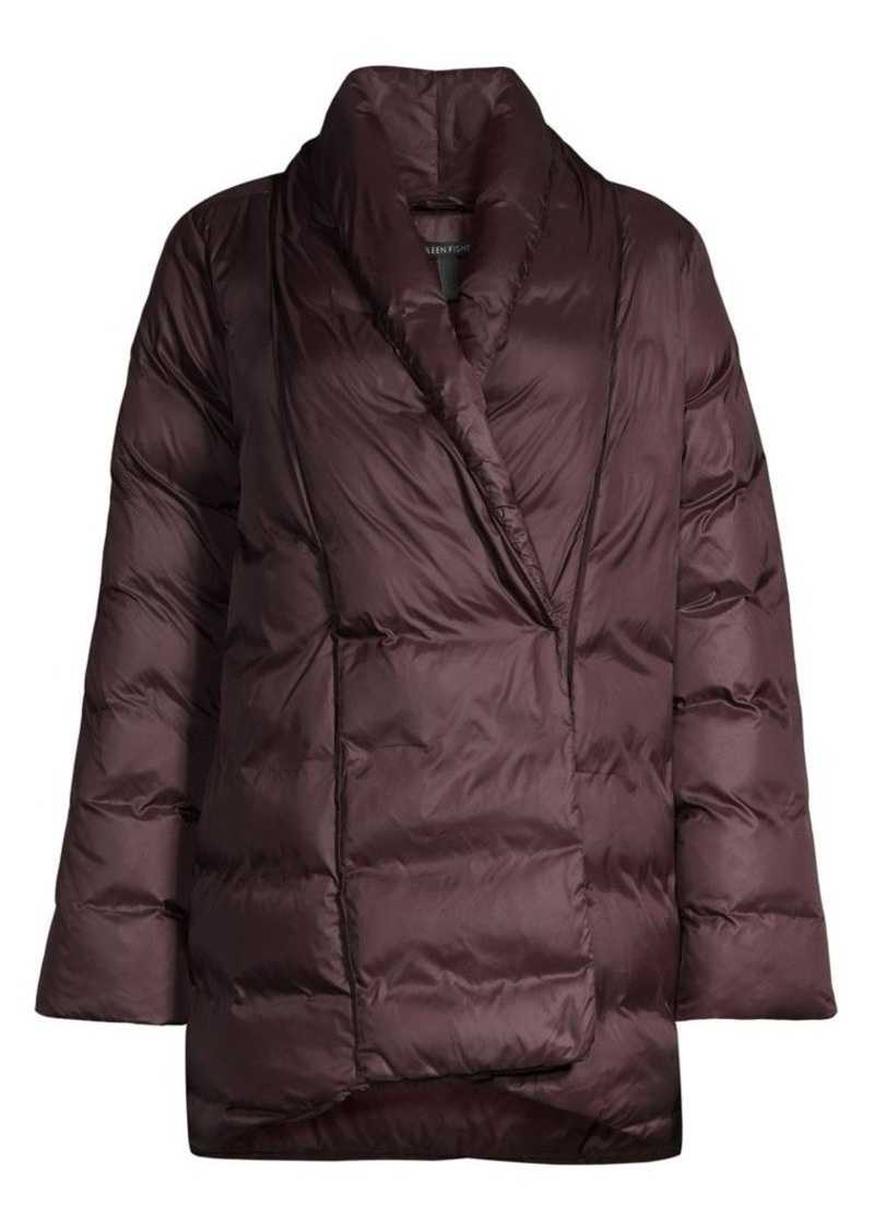 Eileen Fisher High Shawl Collar Recycled Nylon Puffer Coat