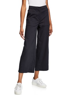Eileen Fisher High-Waist Cotton Twill Flared-Leg Ankle Pants