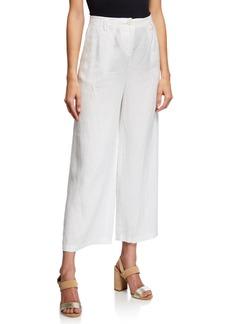 Eileen Fisher High-Waist Organic Linen Full-Leg Ankle Trousers