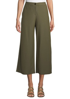 Eileen Fisher High-Waist Wide-Leg Cropped Stretch Crepe Pants