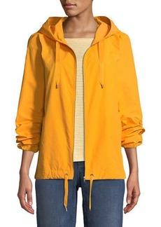 Eileen Fisher Hooded Zip-Front Long-Sleeve Cotton-Blend Jacket