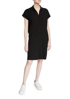 Eileen Fisher Jersey Button-Front Short-Sleeve Dress with Collar