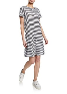 Eileen Fisher Jersey Stripe Crewneck Short-Sleeve Organic Linen Shift Dress