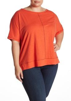 Eileen Fisher Jewel Neck Contrast Stitch T-Shirt (Plus Size)