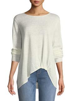 Eileen Fisher Jewel-Neck Front-Twist Organic Linen Sweater