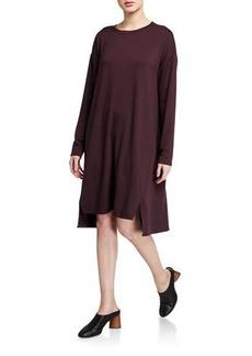 Eileen Fisher Jewel-Neck Long-Sleeve Slit Terry Dress