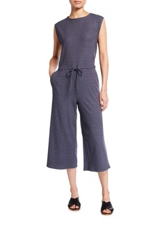 Eileen Fisher Jewel-Neck Stretch Rib Wide-Leg Cropped Jumpsuit