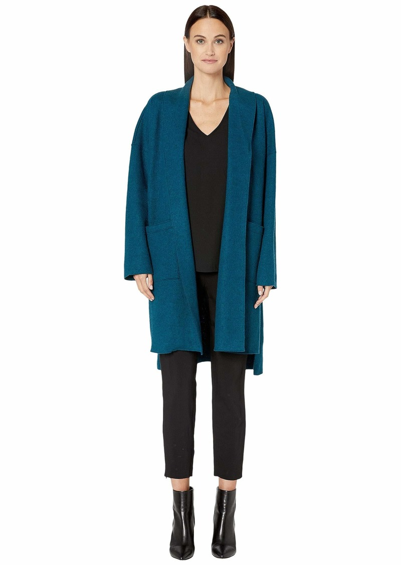 Eileen Fisher Lightweight Boiled Wool Kimono Calf Length Jacket