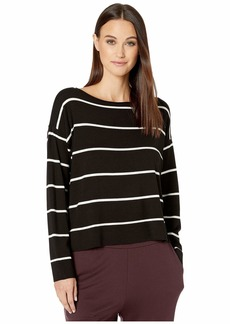 Eileen Fisher Lightweight Cozy Tencel Stretch Bateau Neck Box-Top