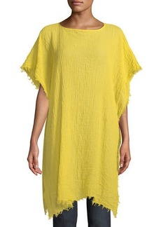 Eileen Fisher Lightweight Organic Cotton Fringed Poncho