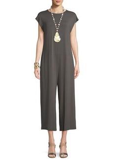 Eileen Fisher Lightweight Viscose Jersey Cap-Sleeve Jumpsuit