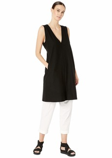 Eileen Fisher Lightweight Washable Stretch Crepe Deep V-Neck Layering Dress