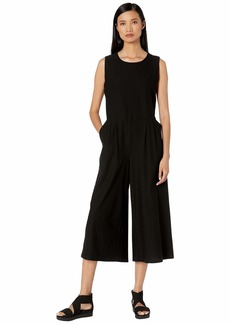 Eileen Fisher Lightweight Washable Stretch Crepe Round Neck Tank Cropped Jumpsuit