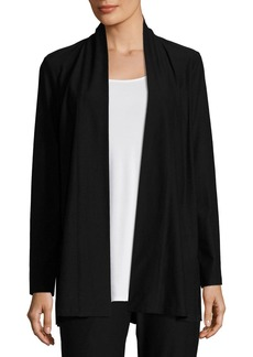 Eileen Fisher Lightweight Washable Stretch-Crepe Topper Jacket/Cardi  Black