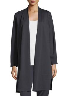 Eileen Fisher Long Double-Knit Open Cardigan