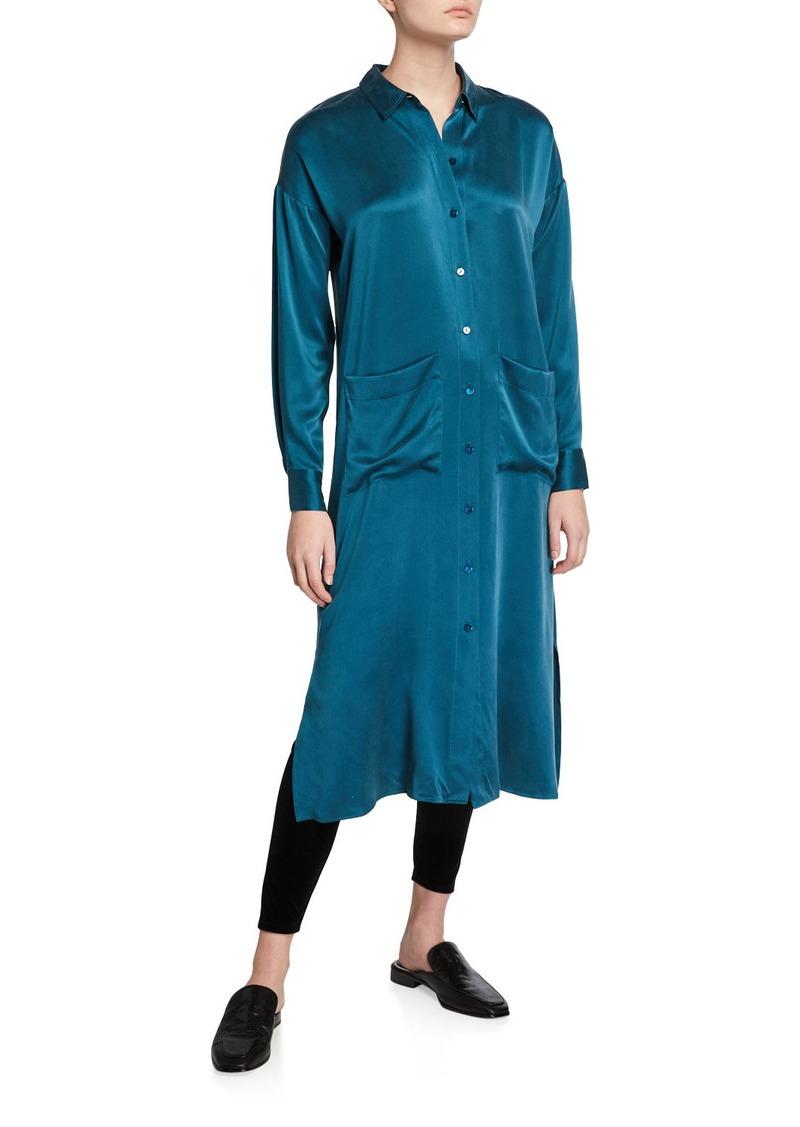 Eileen Fisher Long Sandwash Silk Charmeuse Shirtdress