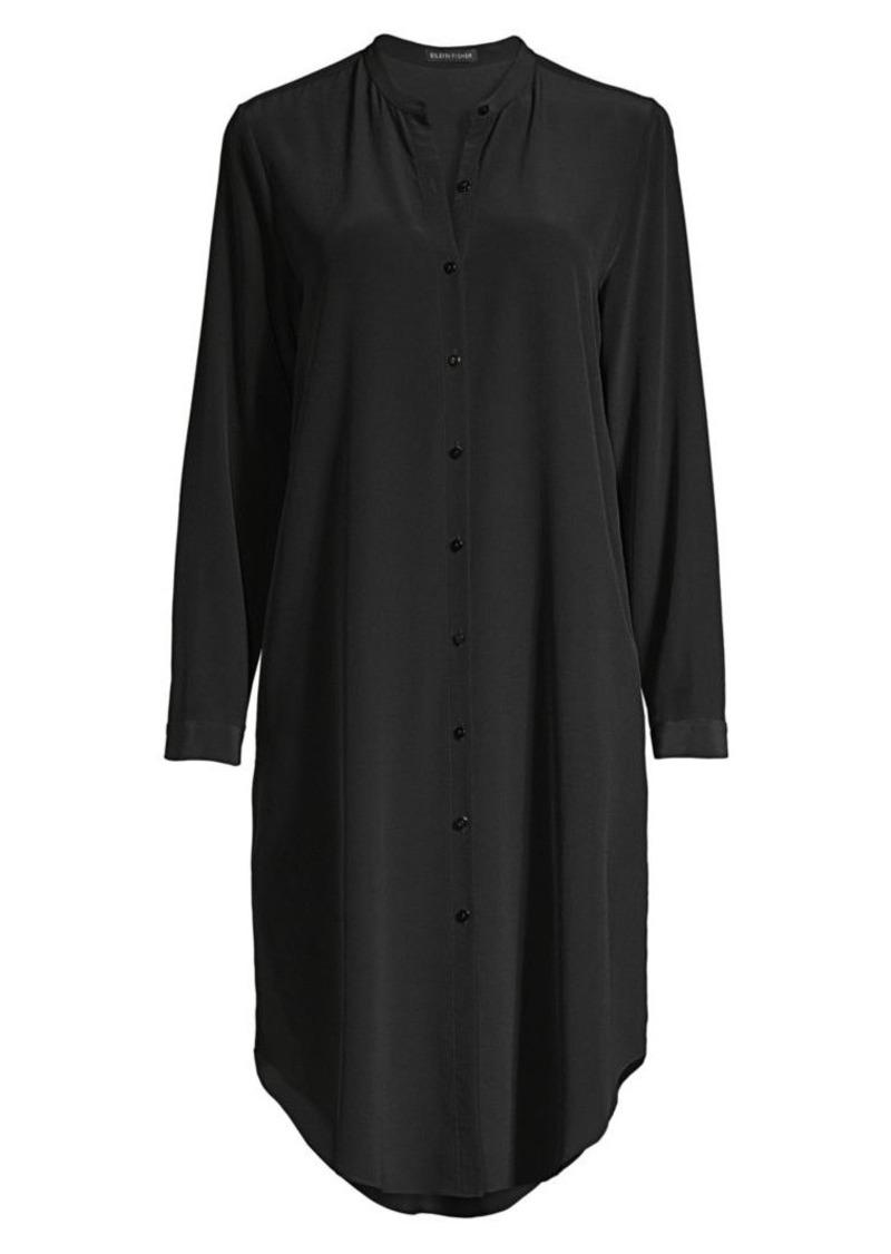 Eileen Fisher Long Silk Crepe De Chine Shirt