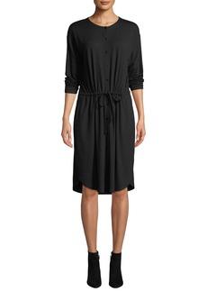 Eileen Fisher Long-Sleeve Button-Front Drawstring Jersey Dress