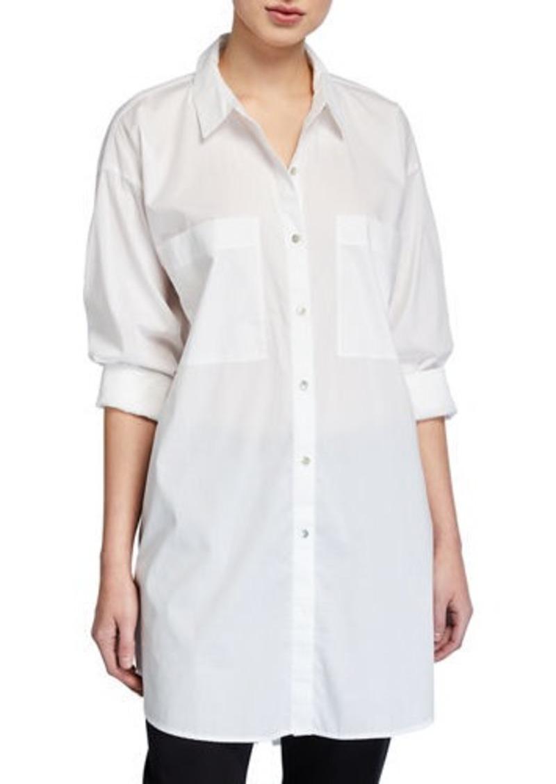 Eileen Fisher Long-Sleeve Cotton Lawn Shirt
