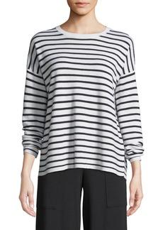 Eileen Fisher Long-Sleeve Striped Merino Sweater