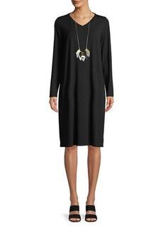 Eileen Fisher Long-Sleeve Viscose Jersey Dress