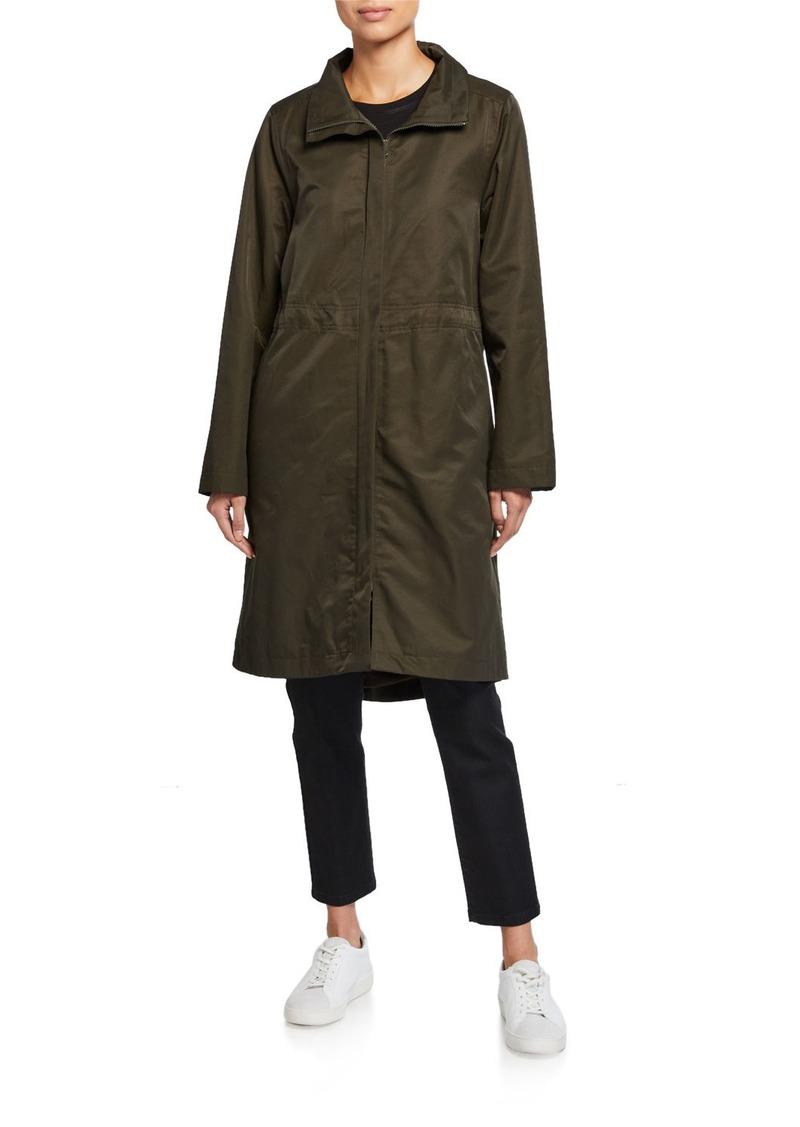Eileen Fisher Lor Stand-Collar Zip-Front Fleece Lined Drawstring Waist Coat