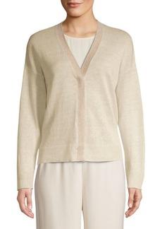 Eileen Fisher Lurex-Trim Organic Linen Cardigan