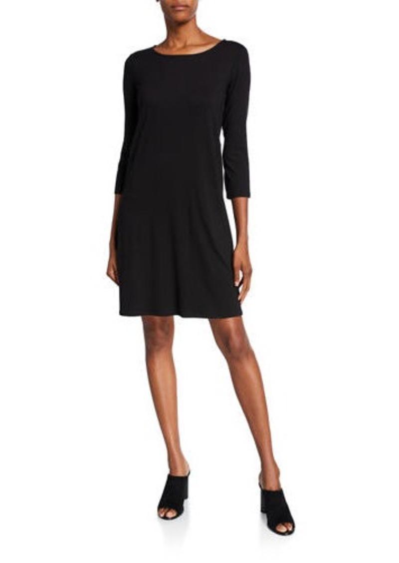Eileen Fisher Lyocell Jersey 3/4-Sleeve Dress