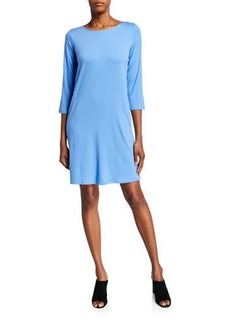 Eileen Fisher Lyocell Jersey 3/4-Sleeve Dress