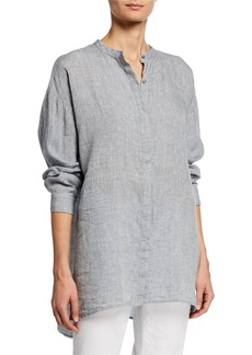 Eileen Fisher Mandarin Collar Button-Front Long-Sleeve Hanky Linen Shirt