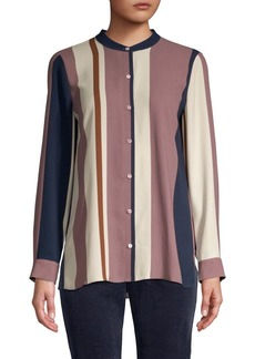 Eileen Fisher Mandarin Collar Silk Shirt