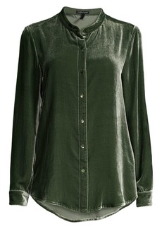 Eileen Fisher Mandarin Collar Velvet Shirt